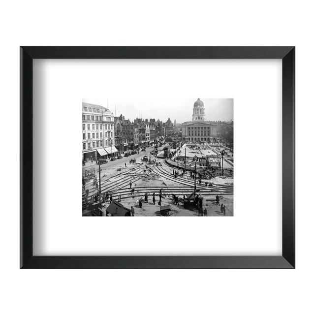 Re-laying of Tram Track in the Old Market Square, Nottingham, 1929 - Framed Print - Black Frame
