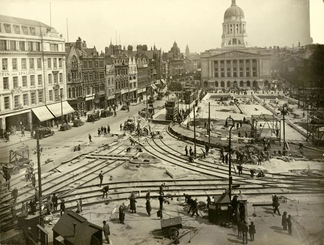 Re-laying of Tram Track in the Old Market Square, Nottingham, 1929