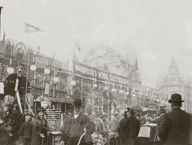 Goose Fair, Market Place , Sideshows showing news events 1899