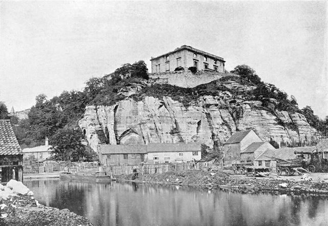 Nottingham Castle before restoration, Showing Gordons Wharf at a basin on the Nottingham Canal c1865