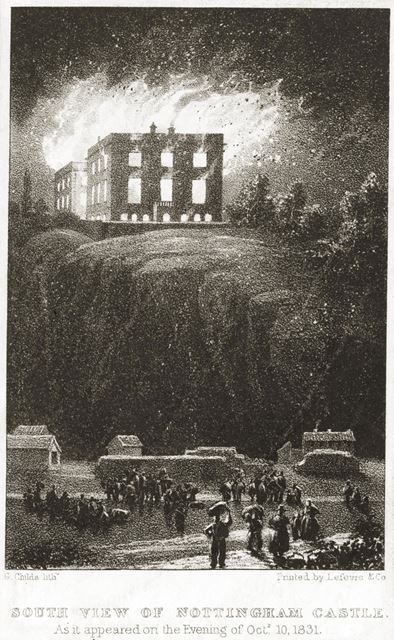 Nottingham Castle on Fire 1831, viewed from the south