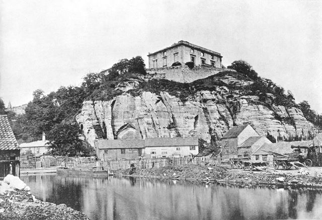 Nottingham Castle before restoration, Showing The River Leen c1865