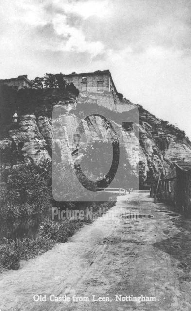 Nottingham Castle before restoration, showing The River Leen c1865