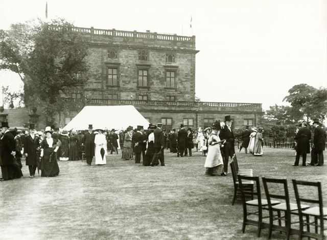 Nottingham Castle after restoration, Garden Party, c 1890-1900's ?