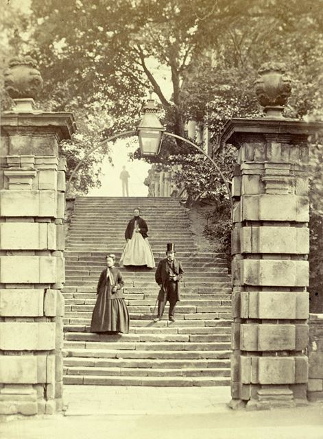 Nottingham Castle before restoration, showing architectural detail of the steps and pillars at the e