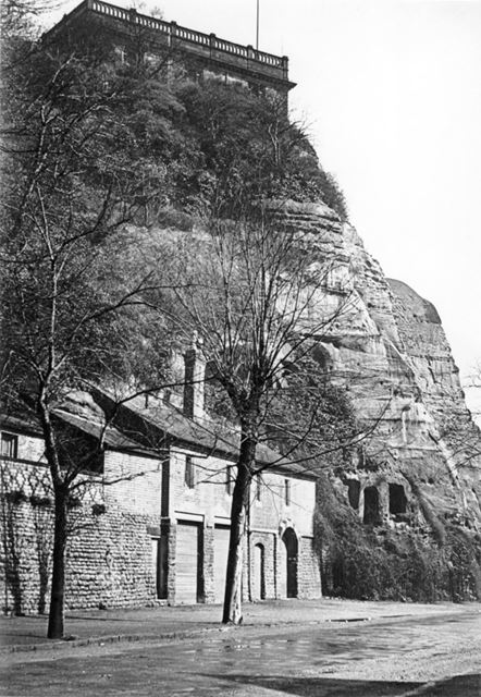 Nottingham Castle south side and caves from Peveril Drive c 1910 ?
