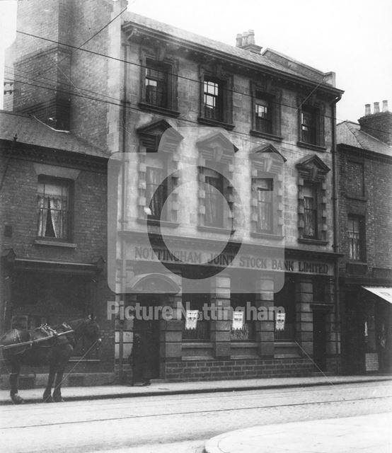 Nottingham Joint Stock Bank Ltd. Arkwright Street, Nottingham, Meadows 1906