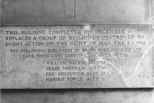 Commemorative Plaque on Boots the Chemist's building, 1975
