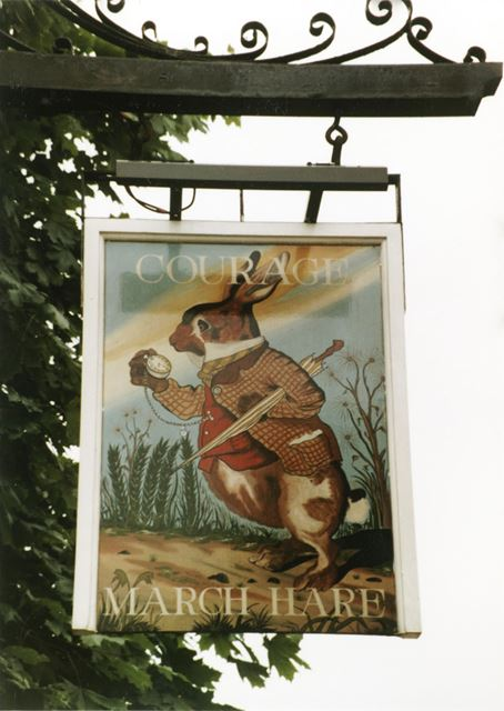 Sign of the 'March Hare' public house, Carlton Road, Sneinton, Nottingham, 1983