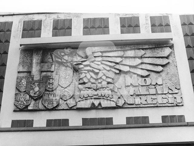 Polish Catholic Club - Bas-Relief granite panel above the entrance