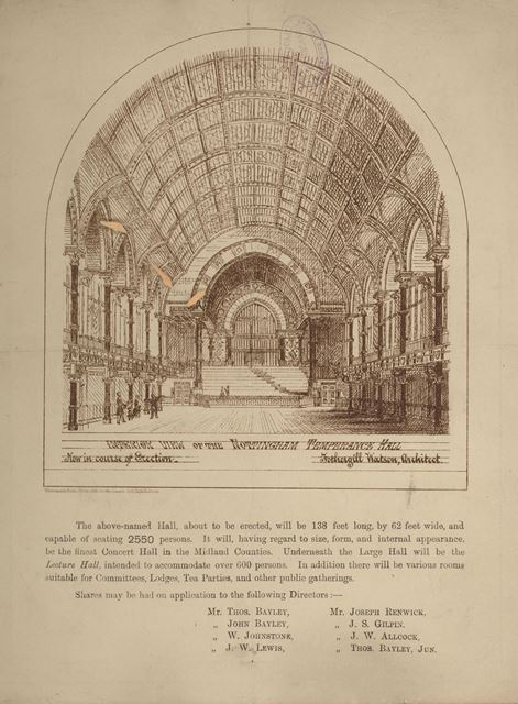 Nottingham Temperance Hall - document to promote investment and shares in the venture