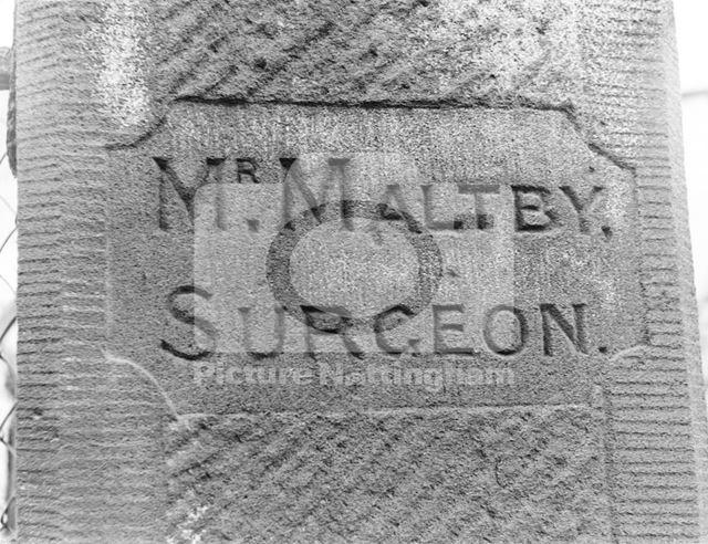 Inscription on the gatepost of 12 Alpine Street, Basford.