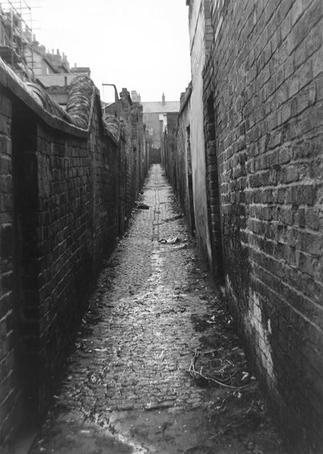 Back alleyway leading to yards of houses on Cromwell Street and Portland Road, Radford