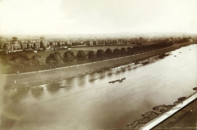Aerial view of West Bridgford and Lovers Walk on the banks of the River Trent, near Trent Bridge