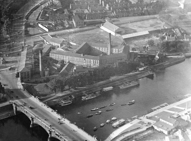 Aerial view of the Trent Bridge area, looking towards Turney's Leather Works and London Road