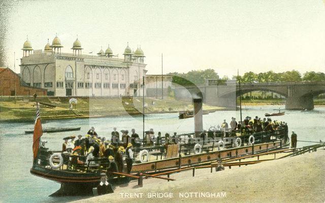 Pleasure steamer on the River Trent, Trent Bridge, Nottingham, c 1903-4