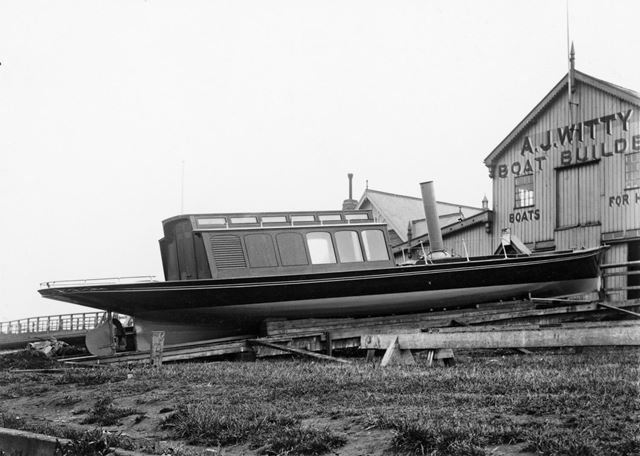 A new boat on the River Trent embankment, at A J Whitty's boat builders yard, Trent Bridge