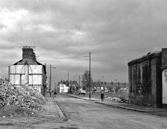 Kirke White Street East looking towards Arkwright Street (with former railway bridge abutment on the