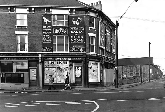 The former location of Arkwright Street Post Office and Walter Medcalf's shop at the junction with W