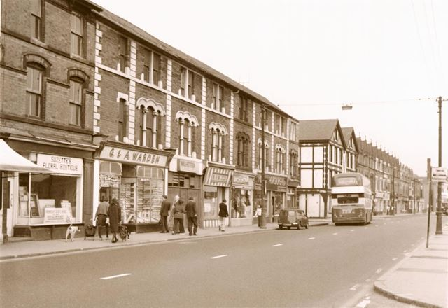 Shops on Arkwright Street, looking from the junction with St Saviour's Street towards Agnes Street