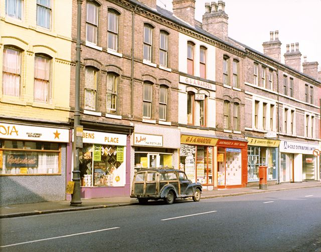 The 'new' location of Arkwright Street Post Office and other shops on Arkwright Street