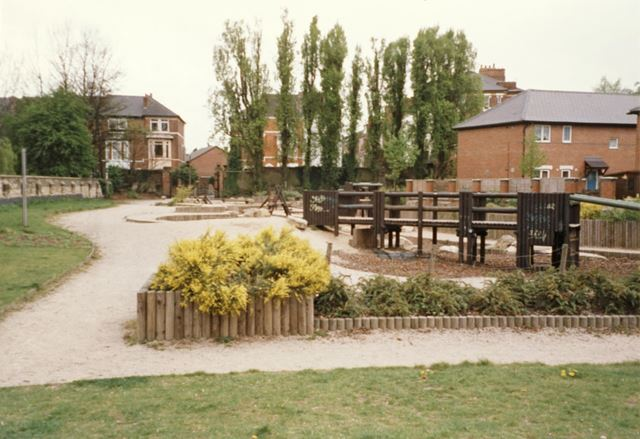 Children's recreation ground, on the site of the former Carrington Lido
