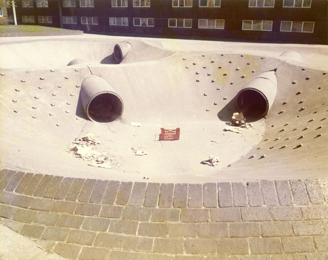 Concrete children's play area and litter! - Hyson Green Flats - Noel Street 1978