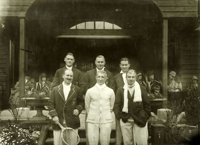 Group of men - Tattershall Drive tennis courts and pavilion