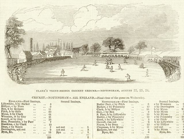 Trent Bridge Cricket Ground - Nottingham V All England Match - August 22,23,and 24, 1842