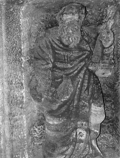Carved stone figure in a cave-grotto, Fishpond Drive, The Park