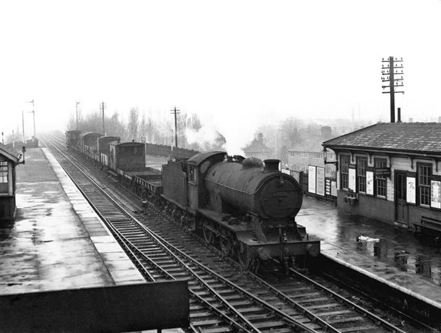Goods train at Basford North station, Old Basford, Nottingham, 1958