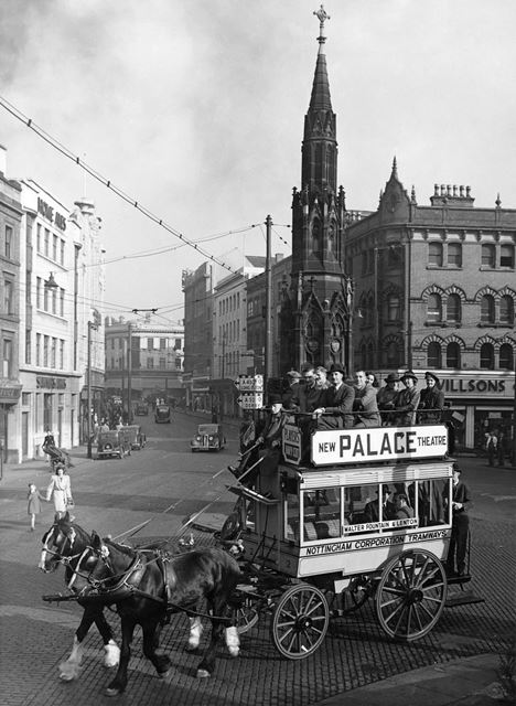 Special horse bus outing for the 50 Year celebrations of Nottingham Corporation Tramways
