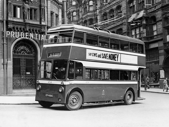 Nottingham Corporation Trolley bus in front of the Prudential Assurance Building