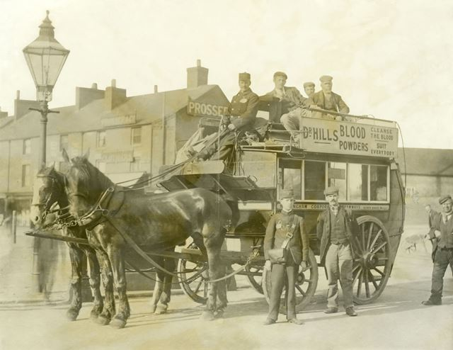 Horse bus of Nottingham Corporation Tramways in Bulwell Market Place