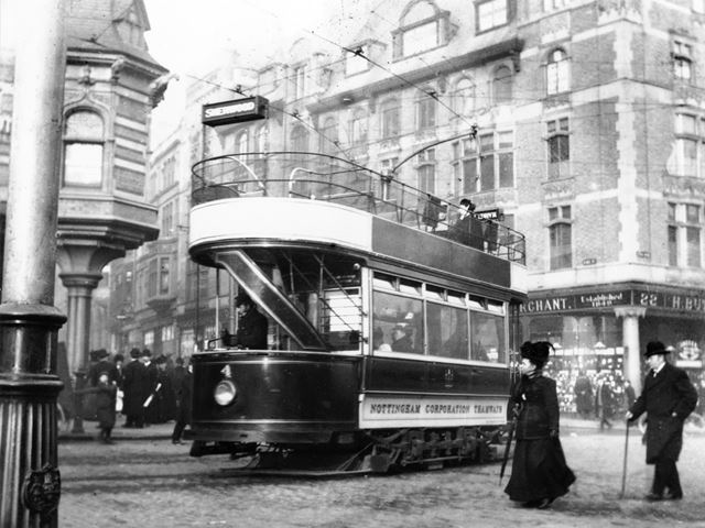 A Nottingham Corporation open topped electric tram