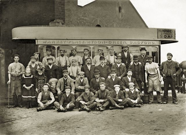 Horse tram, maintainance workers, grooms and cock horse lads at Basford stables