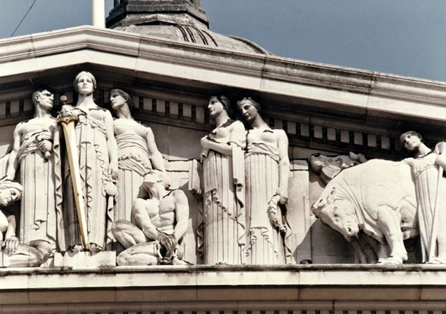 Council House - architectural detail of pediment sculptures - depicting 'Justice' and 'Agriculture'