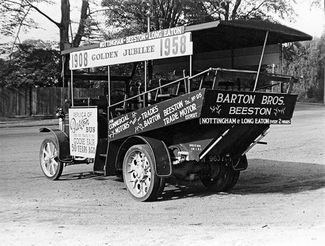 One of Barton's first buses; W 963 a 1908 Daimler Benz, first used on a route from Long Eaton to Goo