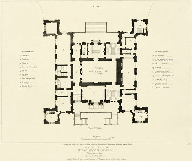 Wollaton Hall - Jeffry Wyatt's ground plan from 'The Architectural Antiquities of Great Britain'
