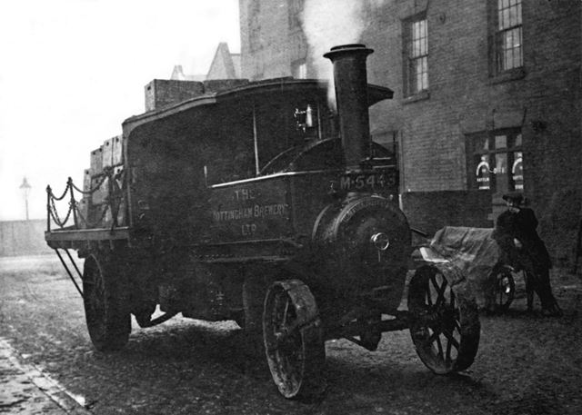 A Nottingham Brewery steam wagon-lorry