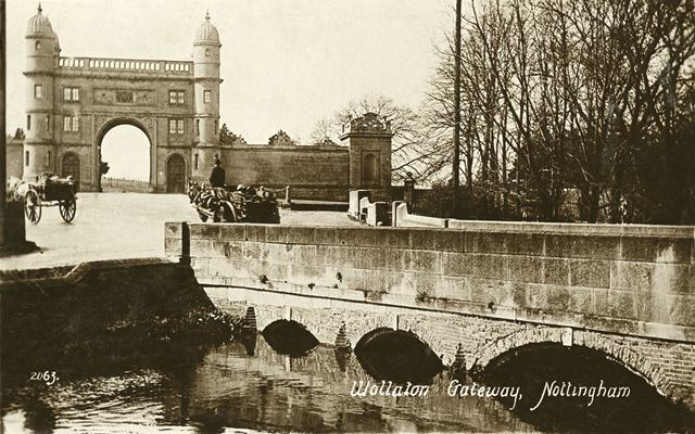 Wollaton Hall's Lenton Lodge and the River Leen