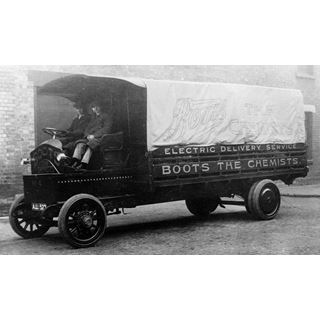 A Boots the Chemists 'Electric Delivery Service' lorry