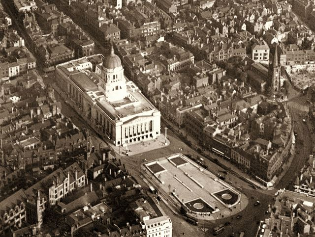 Aerial view of the Market Square area - showing the newly built Council House and paved square