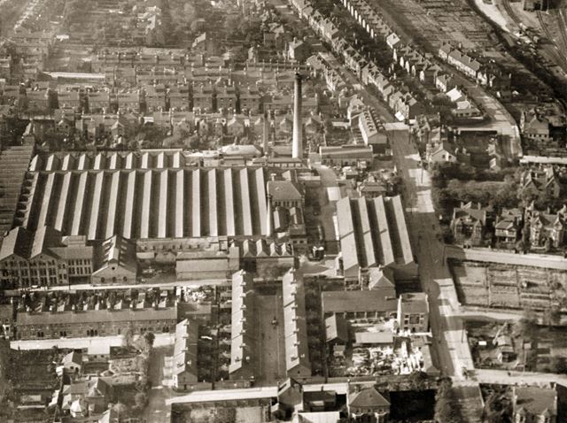 Aerial view of the Adams and Co Sherwood Hill Works on Nottingham Road