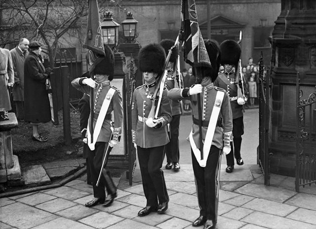 Grenadier Guards outside St Mary's Church