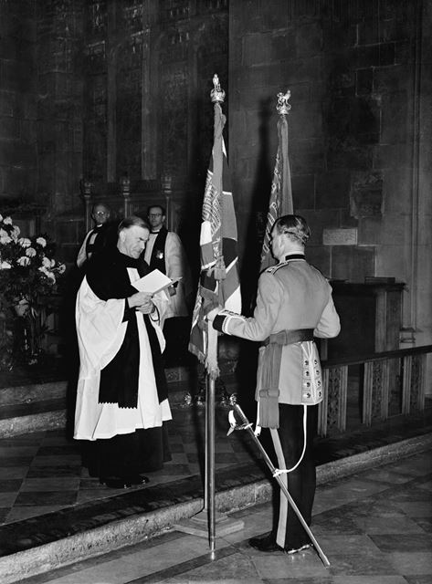 Receiving the colours of the Grenadier Guards, St Mary's Church, High Pavement, Nottingham, 1953