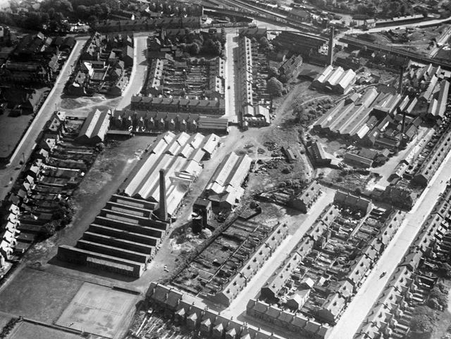 Aerial view, junction of Nottingham Road and Vernon Road