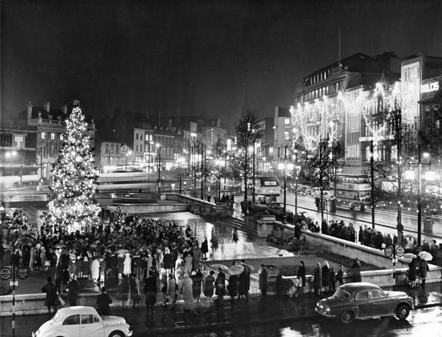 Christmas tree lights ceremony outside the Council House, Old Market Square, Nottingham, 1965