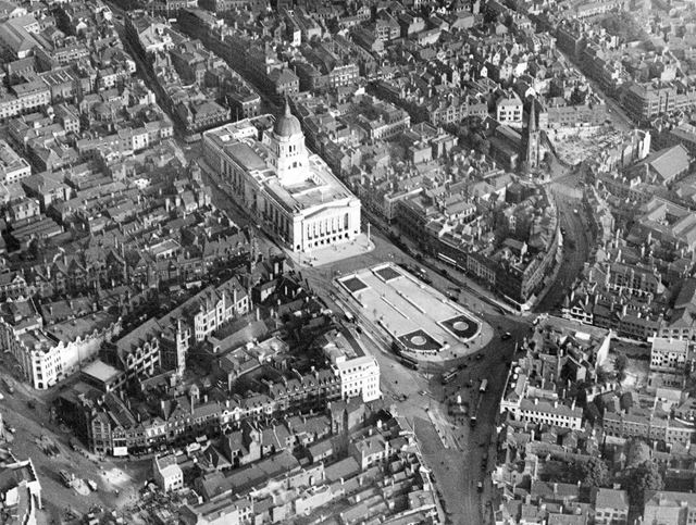 Aerial view of the Old Market Square area - showing the newly built Council House and paved square