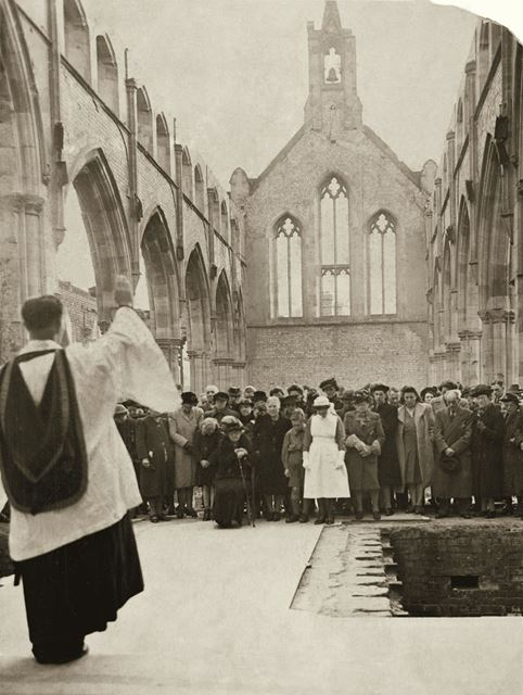 Memorial Service at the end of World War 2 in the bombed ruins of St Christopher's Church, Sneinton